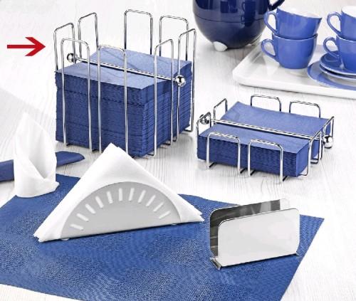 Serviettenhalter WIRE Metall verchromt Länge 19 x Breite 19 x Höhe 19 cm für ca. 150 Stück Servietten 1/4 Falz