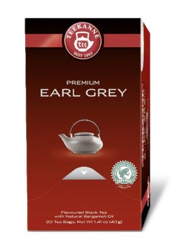 Teekanne Premium EARL GREY, Inhalt: 20 Beutel à 1,75 Gramm, Schwarztee mit Bergamotte-Note.