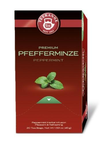 Teekanne Premium PFEFFERMINZ, Inhalt: 20 Beutel à 1,75 Gramm, Kräutertee, frisch und wohltuend.