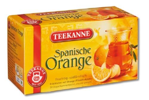 Teekanne SPANISCHE ORANGE Inhalt: 20 Teebeutel à 1,8 g, einzeln kuvertiert, Früchtetee mit Orange-Pfirsich-Aroma.
