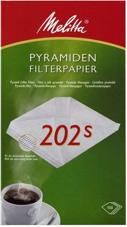 Melitta Pyramiden-Filterpapier 202s, Inhalt: 100 Stück je Packung.
