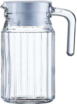 Krug QUADRO, Inhalt: 0,5 Liter, Höhe: 157 mm, Durchmesser: 85 mm, mit weißem Kunststoffdeckel.