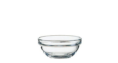 Glasschale EMPILABLE, Inhalt: 0,21 Liter, Durchmesser: 105 mm, Höhe: 48 mm, stapelbar.