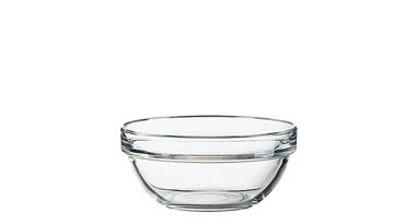 Glasschale EMPILABLE, Inhalt: 0,33 Liter, Durchmesser: 120 mm, Höhe: 54 mm, stapelbar.