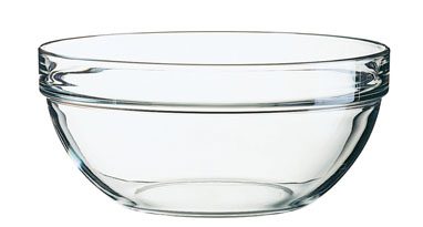 Glasschale EMPILABLE, Inhalt: 2,6 Liter, Durchmesser: 230 mm, Höhe: 104 mm, stapelbar.