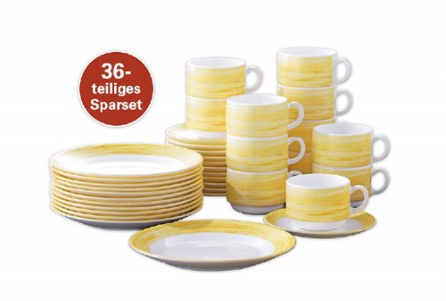 36-teiliges SPARSET BRUSH Yellow/ Gelb, Hartglasgeschirr mit farbigem Dekor, stapelbar, spülmaschinengeeignet.