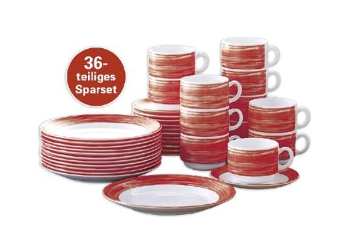 36-teiliges SPARSET BRUSH Cherry/ Rot Hartglasgeschirr mit farbigem Dekor,  stapelbar, spülmaschinengeeignet