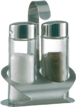 Menage Salz/Pfeffer TREND LINE, aus Glas, Oberteil Kunststoff verchromt, Ständer aus 18/10 Edelstahl,