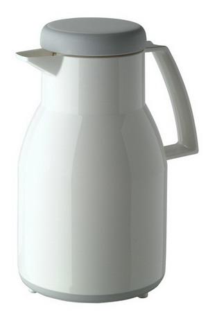 Helios Isolierkanne WASH, Inhalt: 1,0 Liter, Farbe: weiss, spülmaschinengeeignet, Kunstoff, Qualitätsglas-Einsatz, Drehverschluß,