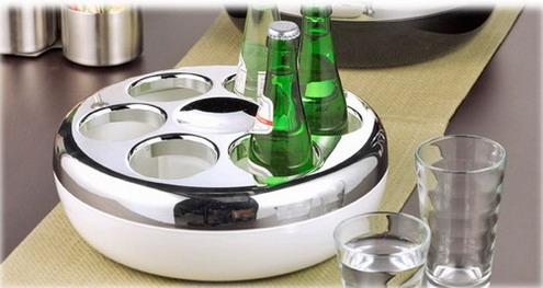 Flaschenkühler PURE, Farbe: weiß/chrom, von Helios, aus Kunststoff, inkl. Kühlakku, Höhe: 100 mm, Durchmesser: 290 mm