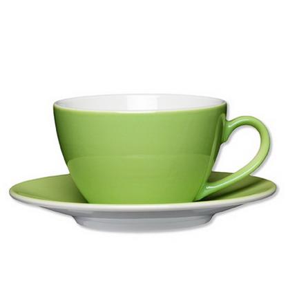 Milchkaffeetasse, Inhalt: 0,32 ltr., mit Untertasse Durchmesser: 16,0 cm, Eschenbach COFFEESHOP COLOUR, green/hellgrün,