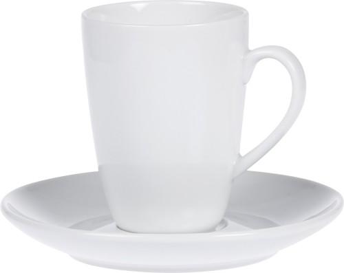 Macchiato-Tasse BISTRO, Inhalt 0,16 ltr., mit Untertasse, Porzellan, UNI WEISS, Henkelform rund, Höhe: 9,0 cm