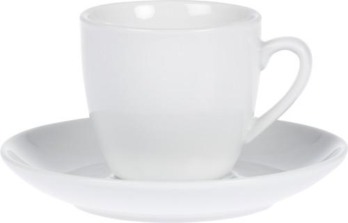 Espresso-Tasse - Inhalt 0,10 ltr - mit Untertasse - Form BISTRO - UNI WEISS - Henkelform rund, Höhe 5,8 cm