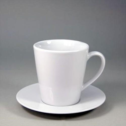 Café Grande-Henkelbecher - Inhalt 0,25 ltr - mit Untertasse - Form BISTRO - UNI WEISS