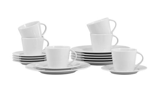 18-teiliges Sparset / Kaffeeset ISTA von caterado, aus weißem Porzellan. Enthält je 6 Obertassen, Untertassen und Dessertteller