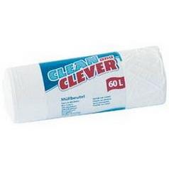 Clean  Clever Müllbeutel 60 ltr. Aus reißfestem Polyethylen (HDPE), in der Farbe weiß, mit einem Volumen von 60 l, in der Abmessung