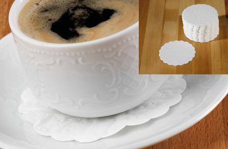Tassendeckchen / Untersetzer, Durchm. 9 cm, weiß, 8-lagig, Paket à 250 Stück