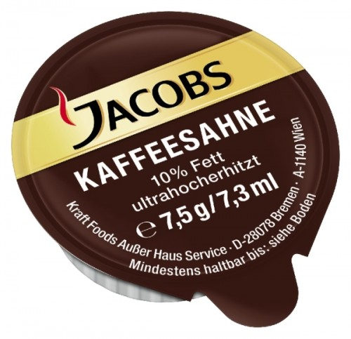 Jacobs Kaffeesahne mit 10 % Fett, Inhalt: 240 Stück Tassenpackungen/ Portionspackungen à 7,5 g je Karton.