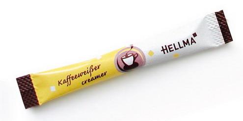 Hellma Kaffeeweißer-Sticks, Inhalt: 500 Stück à 2,5 g je Karton. Mindesthaltbarkeit: ca. 25 Wochen.