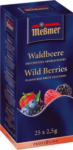 MEßMER WALDBEERE, Inhalt: 25 Aromaschutzkuverts à 2,5 g je Paket, Früchtetee, aromatisiert.