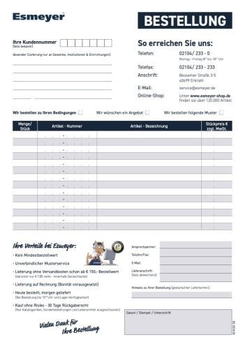 Esmeyer Bestellformular  für Telefax oder Post - nur Download -