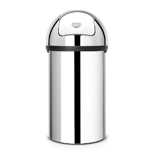 Brabantia Abfalleimer PUSH BIN, Inhalt: 60 ltr., Durchmesser 39,8 cm, Höhe 82 cm, Farbe: Brillant Steel.