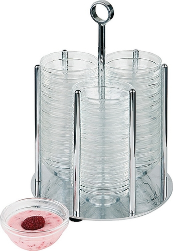 Schälchenspender -Medium- Ø ca 17,5 cm, 25,5 cm hoch inkl. 36 Schüsseln 7 cm  (Arcoroc)