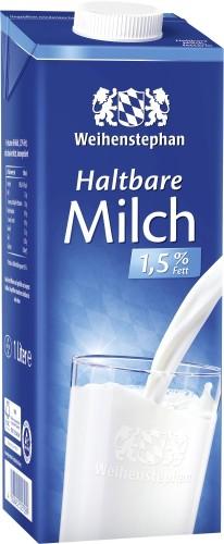 Weihenstephan H-Milch mit 1,5% Fett, Inhalt: 1 l ultrahocherhitzt.