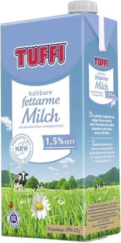 Tuffi H-Milch mit 1,5% Fett, Inhalt: 1 l ultrahocherhitzt und fettarm.