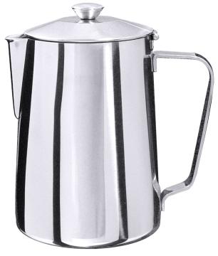 Kaffeekanne aus Edelstahl 18/10, hochglänzend, ohne Innensieb, mit Scharnierdeckel  Volumen: 0,6 l, Höhe: 13 cm [Literangaben auf der