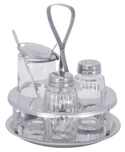 Menage  3-teilig Senf, Salz  Pfeffer,             aus Edelstahl 18/0, hochglänzend, mit  Pressglaseinsätzen Durchmesser: 13 cm, Höhe: 14,5
