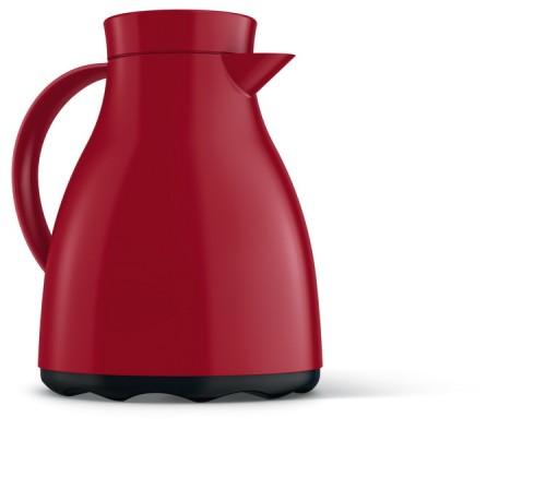 Emsa Isolierkanne EASY CLEAN, Inhalt: 1 Liter, Farbe: rot, Einhandbedienung, Höhe: 225 mm, spülmaschinenfest, Glaseinsatz.