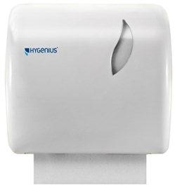 Hygenius Handtuchspender weiß abschließbar,  Einzelblattentnahme 31x22x32,5cm f. Rolle  Hygenius HACCP-Nor