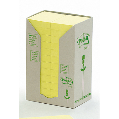 Post-it® Haftnotiz Recycling Notes Tower 51 x 38  mm (B x H) gelb 100 Bl./Block 24 Block/Pack.