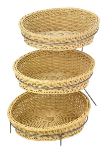 Präsentationsständer rund mit 3 Fächern, Maße: H 42,5 x B 35,5 x T 47,5 cm Durchmesser Fächer: 35 cm