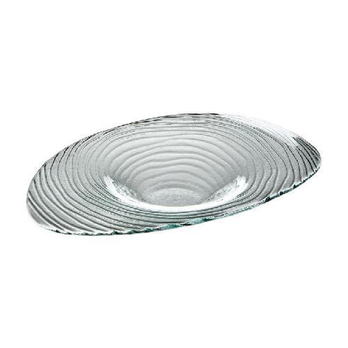 Glasschale m. Struktur, 31,5x20,5cm, H:4cm, 2er